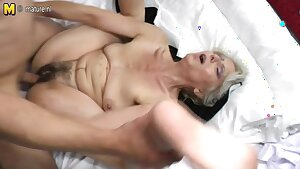 Hairy grandma hard pummeled by young lover