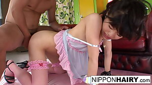 Pretty in pink Asian girl gets an rectal & pussy creampie