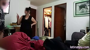 Jerking off in front of Maid, then seizing her gigantic melons