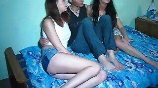 Teens enjoy a threesome