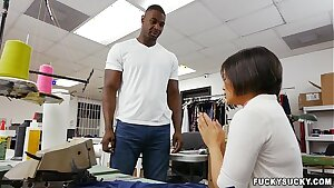 Asian worker interested in ebony cock