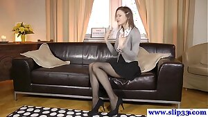 Classy euro cutie rips stockings for fuck