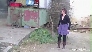 German Redhead Granny loves a Countryside Pounding