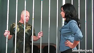 Jailbird gets to fuck hot brunette